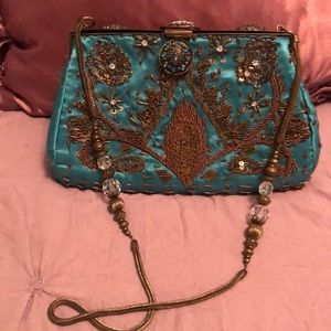 Timmy Woods Gold embroidery evening bag